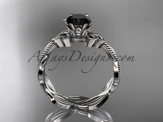 platinum diamond celtic trinity knot wedding ring, engagement ring with a Black Diamond center stone CT7258 - AnjaysDesigns