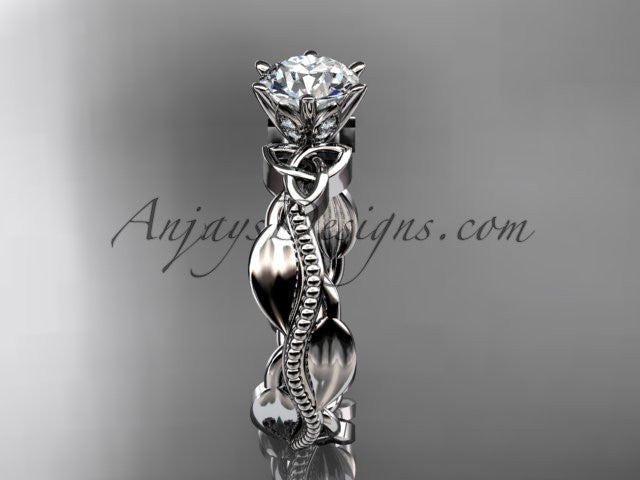 "14kt white gold diamond celtic trinity knot wedding ring, engagement ring with a ""Forever One"" Moissanite center stone CT7258 - AnjaysDesigns"