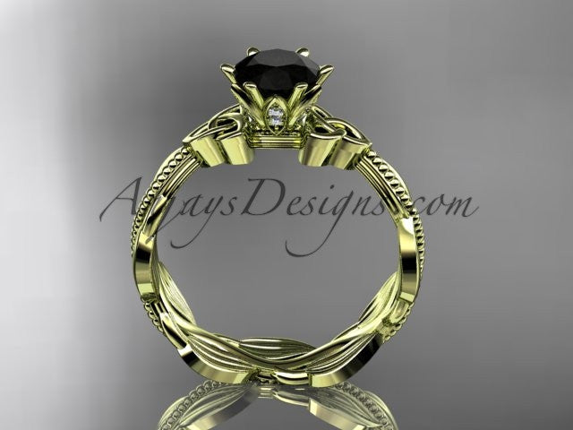 14kt yellow gold diamond celtic trinity knot wedding ring, engagement ring with a Black Diamond center stone CT7258 - AnjaysDesigns