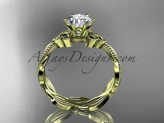 "14kt yellow gold diamond celtic trinity knot wedding ring, engagement ring with a ""Forever One"" Moissanite center stone CT7258 - AnjaysDesigns"
