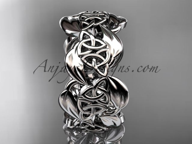 14kt white gold leaf and celtic trinity knot wedding band, engagement ring CT7262G - AnjaysDesigns