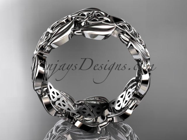 platinum leaf and celtic trinity knot wedding band, engagement ring CT7262G - AnjaysDesigns