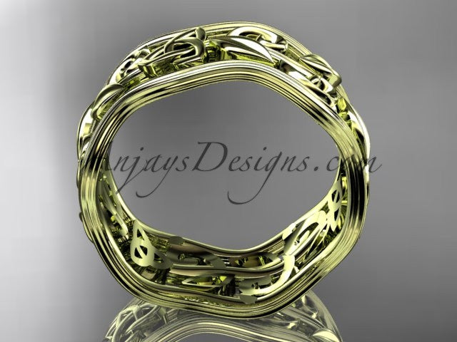 14kt yellow gold celtic trinity knot wedding band, engagement ring CT7263G - AnjaysDesigns