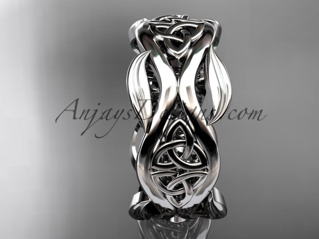 14kt white gold celtic trinity knot wedding band, engagement ring CT7264G - AnjaysDesigns