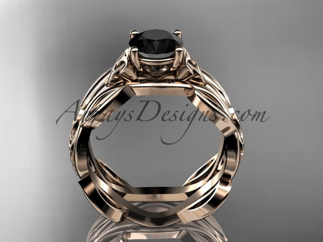 14kt rose gold celtic trinity knot wedding ring, engagement ring with a Black Diamond center stone CT7264 - AnjaysDesigns
