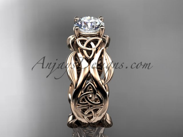 "14kt rose gold celtic trinity knot wedding ring, engagement ring with a ""Forever One"" Moissanite center stone CT7264 - AnjaysDesigns"