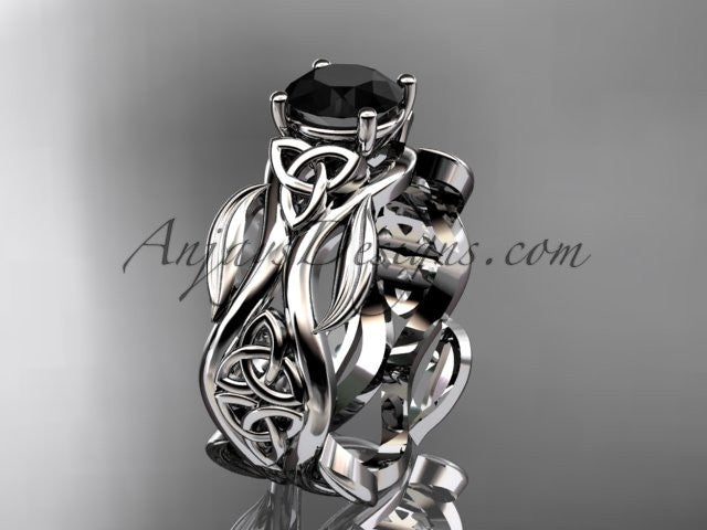 14kt white gold celtic trinity knot wedding ring, engagement ring with a Black Diamond center stone CT7264 - AnjaysDesigns