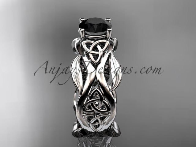 platinum celtic trinity knot wedding ring, engagement ring with a Black Diamond center stone CT7264 - AnjaysDesigns