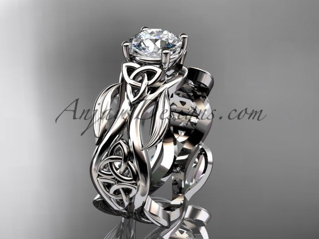 "platinum celtic trinity knot wedding ring, engagement ring with a ""Forever One"" Moissanite center stone CT7264 - AnjaysDesigns"