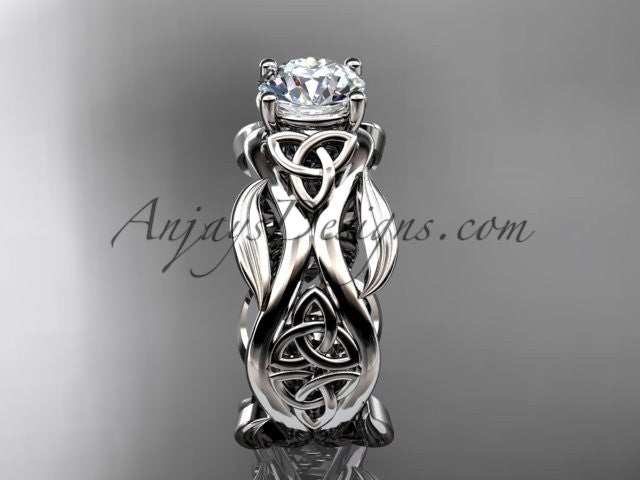 "14kt white gold celtic trinity knot wedding ring, engagement ring with a ""Forever One"" Moissanite center stone CT7264 - AnjaysDesigns"