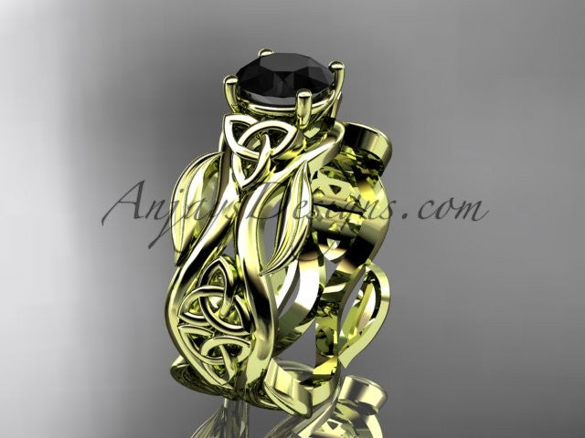 14kt yellow gold celtic trinity knot wedding ring, engagement ring with a Black Diamond center stone CT7264 - AnjaysDesigns