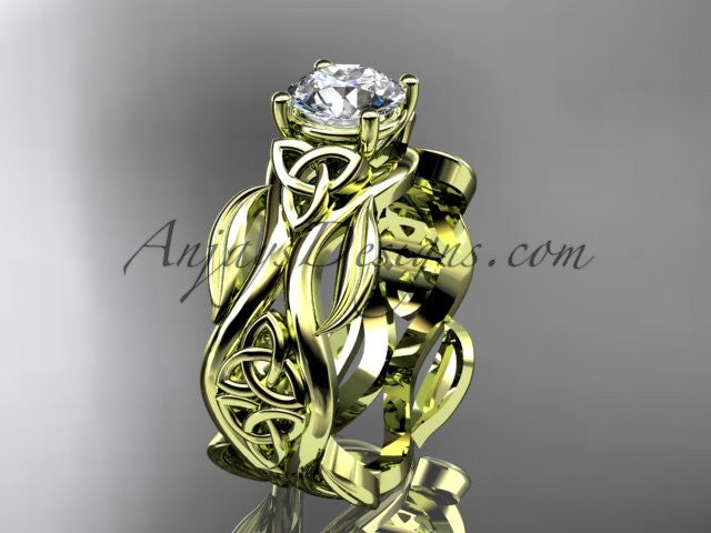 "14kt yellow gold celtic trinity knot wedding ring, engagement ring with a ""Forever One"" Moissanite center stone CT7264 - AnjaysDesigns"