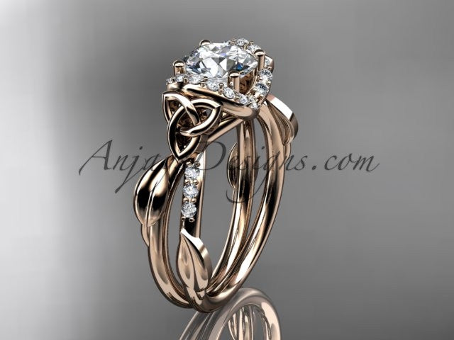 "14kt rose gold diamond celtic trinity knot wedding ring, engagement ring with a ""Forever One"" Moissanite center stone CT7274 - AnjaysDesigns"