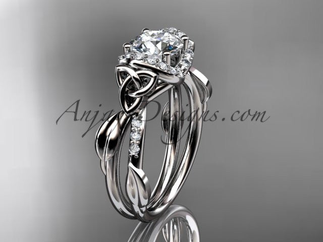 "platinum diamond celtic trinity knot wedding ring, engagement ring with a ""Forever One"" Moissanite center stone CT7274 - AnjaysDesigns"