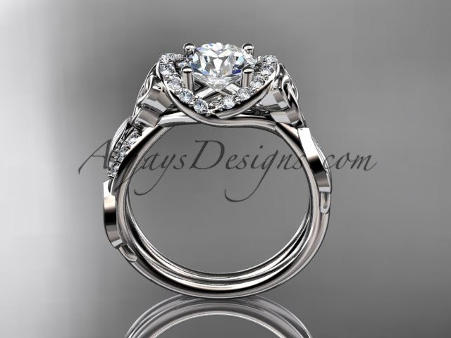 14kt white gold diamond celtic trinity knot wedding ring, engagement ring CT7274 - AnjaysDesigns
