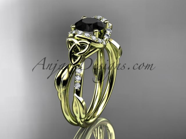 14kt yellow gold diamond celtic trinity knot wedding ring, engagement ring with a Black Diamond center stone CT7274 - AnjaysDesigns