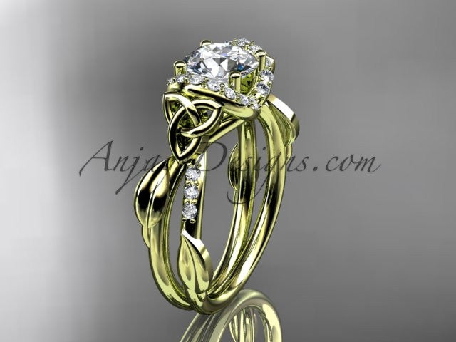 "14kt yellow gold diamond celtic trinity knot wedding ring, engagement ring with a ""Forever One"" Moissanite center stone CT7274 - AnjaysDesigns"