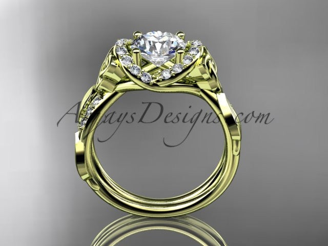 14kt yellow gold diamond celtic trinity knot wedding ring, engagement ring CT7274 - AnjaysDesigns