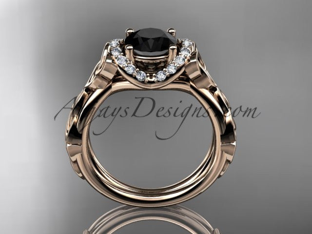 14kt rose gold diamond celtic trinity knot wedding ring, engagement ring with a Black Diamond center stone CT7289 - AnjaysDesigns