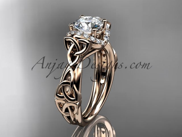 "14kt rose gold diamond celtic trinity knot wedding ring, engagement ring with a ""Forever One"" Moissanite center stone CT7289 - AnjaysDesigns"