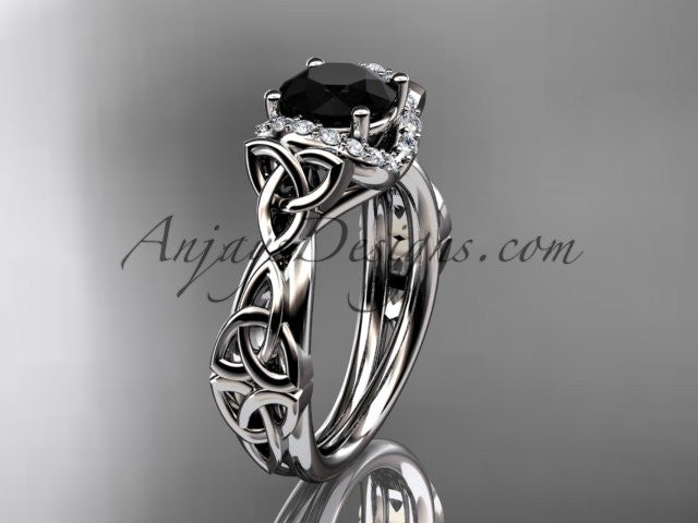 14kt white gold diamond celtic trinity knot wedding ring, engagement ring with a Black Diamond center stone CT7289 - AnjaysDesigns