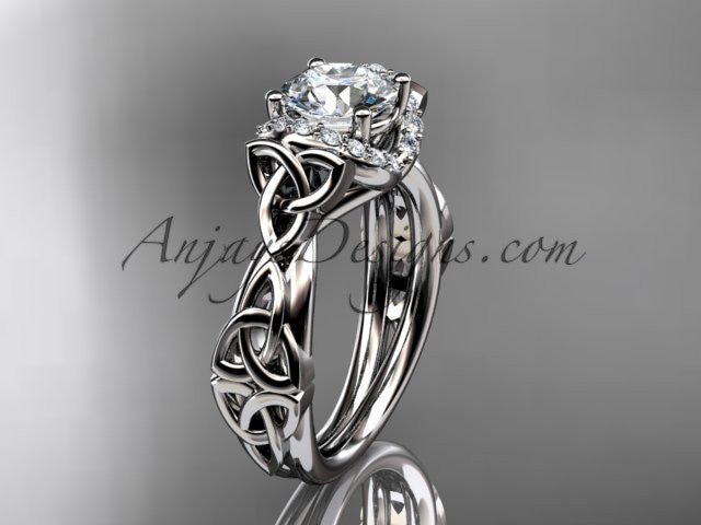 "platinum diamond celtic trinity knot wedding ring, engagement ring with a ""Forever One"" Moissanite center stone CT7289 - AnjaysDesigns"