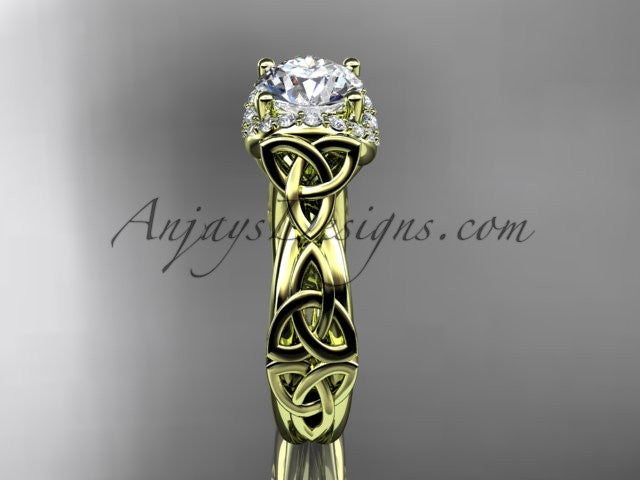 14kt yellow gold diamond celtic trinity knot wedding ring, engagement ring CT7289 - AnjaysDesigns