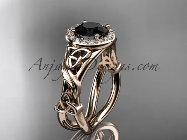 14kt rose gold diamond celtic trinity knot wedding ring, engagement ring with a Black Diamond center stone CT7302 - AnjaysDesigns