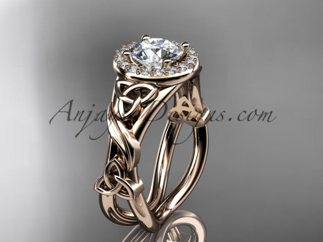 "14kt rose gold diamond celtic trinity knot wedding ring, engagement ring with a ""Forever One"" Moissanite center stone CT7302 - AnjaysDesigns"