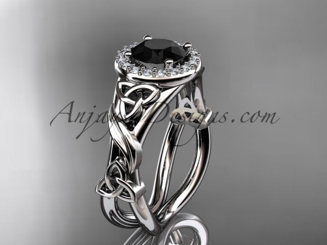 14kt white gold diamond celtic trinity knot wedding ring, engagement ring with a Black Diamond center stone CT7302 - AnjaysDesigns