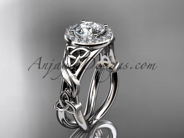 "platinum diamond celtic trinity knot wedding ring, engagement ring with a ""Forever One"" Moissanite center stone CT7302 - AnjaysDesigns"
