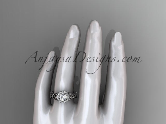 14kt white gold diamond celtic trinity knot wedding ring, engagement ring CT7302 - AnjaysDesigns
