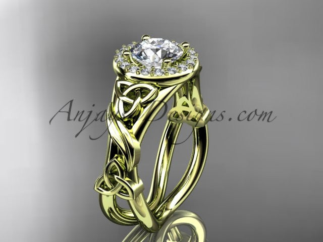 "14kt yellow gold diamond celtic trinity knot wedding ring, engagement ring with a ""Forever One"" Moissanite center stone CT7302 - AnjaysDesigns"