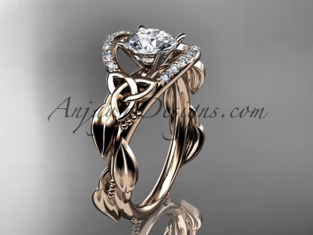 14kt rose gold diamond celtic trinity knot wedding ring, engagement ring CT7326 - AnjaysDesigns