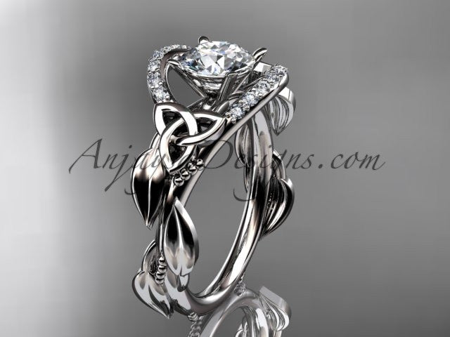 "14kt white gold diamond celtic trinity knot wedding ring, engagement ring with a ""Forever One"" Moissanite center stone CT7326 - AnjaysDesigns"