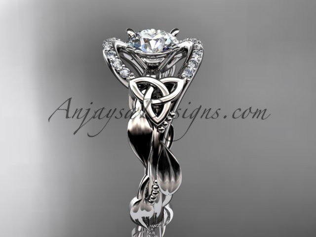 "platinum diamond celtic trinity knot wedding ring, engagement ring with a ""Forever One"" Moissanite center stone CT7326 - AnjaysDesigns"