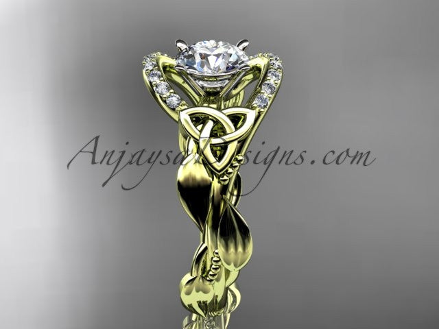 "14kt yellow gold diamond celtic trinity knot wedding ring, engagement ring with a ""Forever One"" Moissanite center stone CT7326 - AnjaysDesigns"