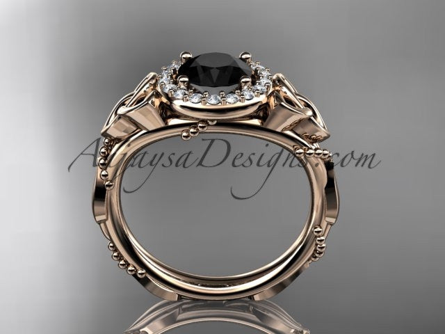 14kt rose gold diamond celtic trinity knot wedding ring, engagement ring with a Black Diamond center stone CT7328 - AnjaysDesigns