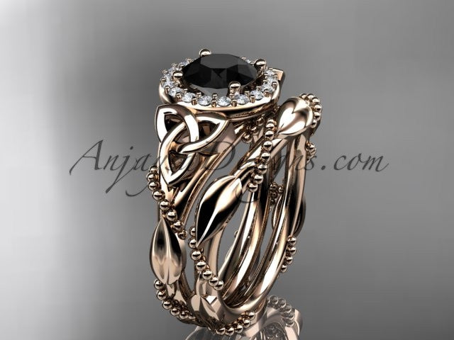14kt rose gold diamond celtic trinity knot wedding ring, engagement set with a Black Diamond center stone CT7328S - AnjaysDesigns