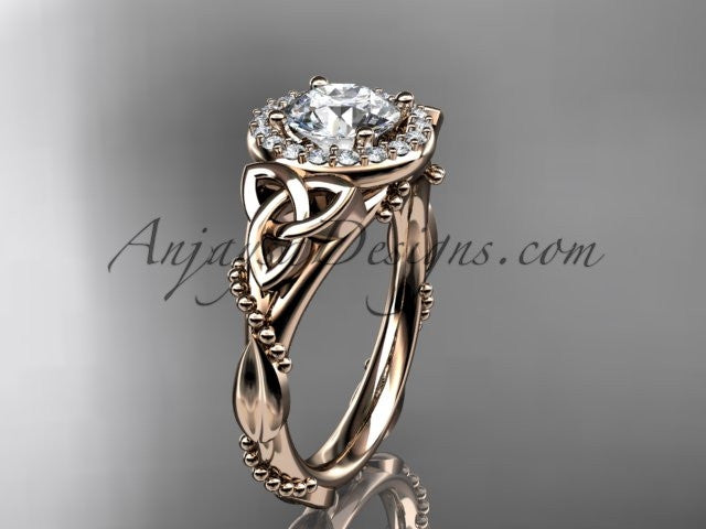 "14kt rose gold diamond celtic trinity knot wedding ring, engagement ring with a ""Forever One"" Moissanite center stone CT7328 - AnjaysDesigns"