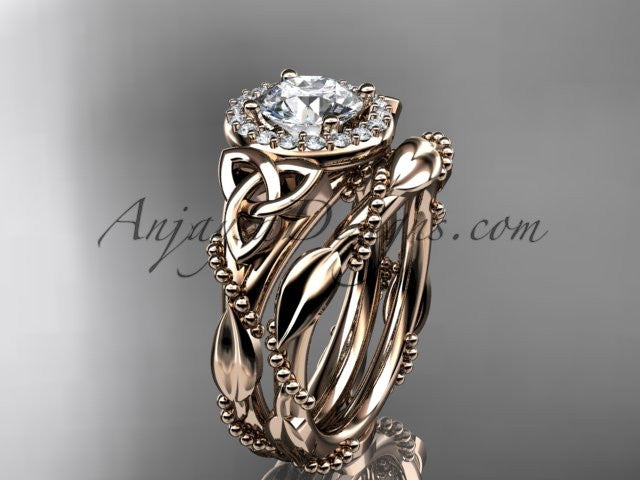 14kt rose gold diamond celtic trinity knot wedding ring, engagement set CT7328S - AnjaysDesigns