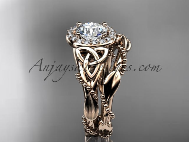 "14kt rose gold diamond celtic trinity knot wedding ring, engagement set with a ""Forever One"" Moissanite center stone CT7328S - AnjaysDesigns"