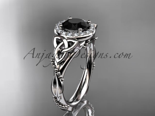 14kt white gold diamond celtic trinity knot wedding ring, engagement ring with a Black Diamond center stone CT7328 - AnjaysDesigns