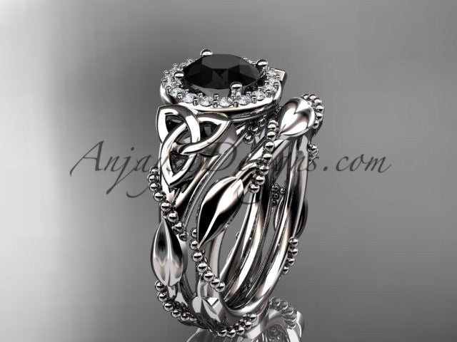 platinum diamond celtic trinity knot wedding ring, engagement set with a Black Diamond center stone CT7328S - AnjaysDesigns