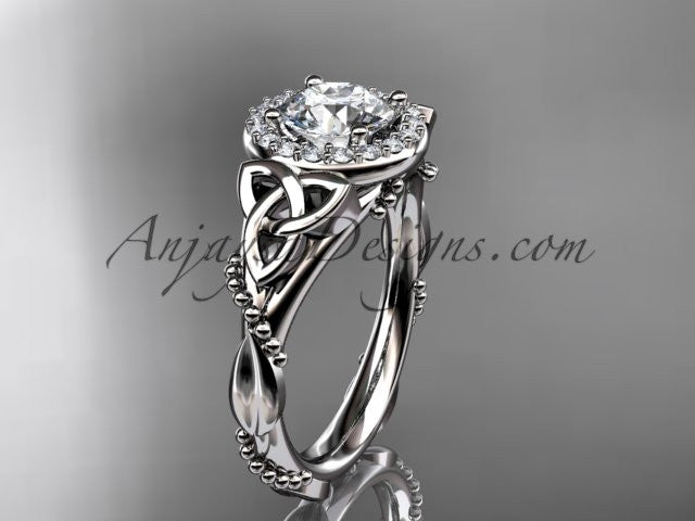 "platinum diamond celtic trinity knot wedding ring, engagement ring with a ""Forever One"" Moissanite center stone CT7328 - AnjaysDesigns"