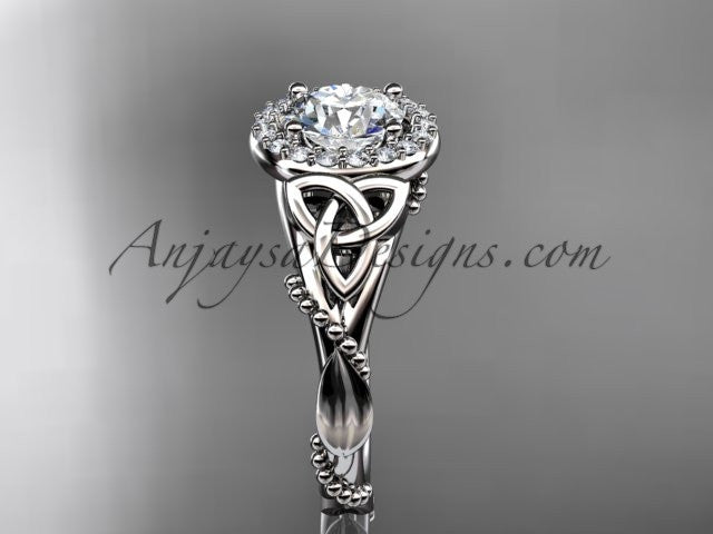 "14kt white gold diamond celtic trinity knot wedding ring, engagement ring with a ""Forever One"" Moissanite center stone CT7328 - AnjaysDesigns"