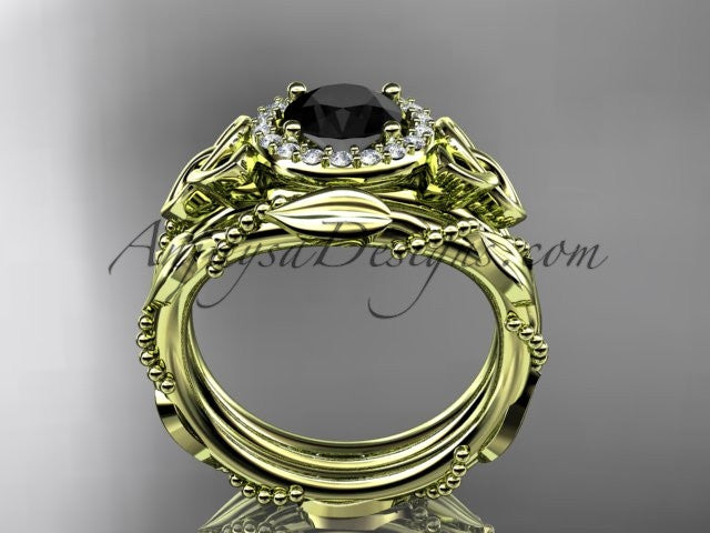14kt yellow gold diamond celtic trinity knot wedding ring, engagement set with a Black Diamond center stone CT7328S - AnjaysDesigns