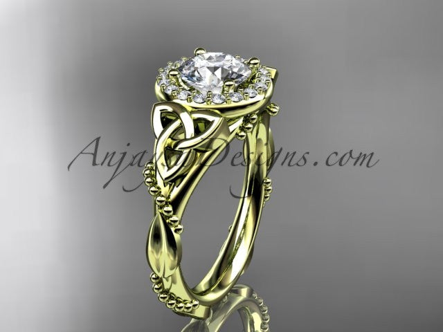 14kt yellow gold diamond celtic trinity knot wedding ring, engagement ring CT7328 - AnjaysDesigns