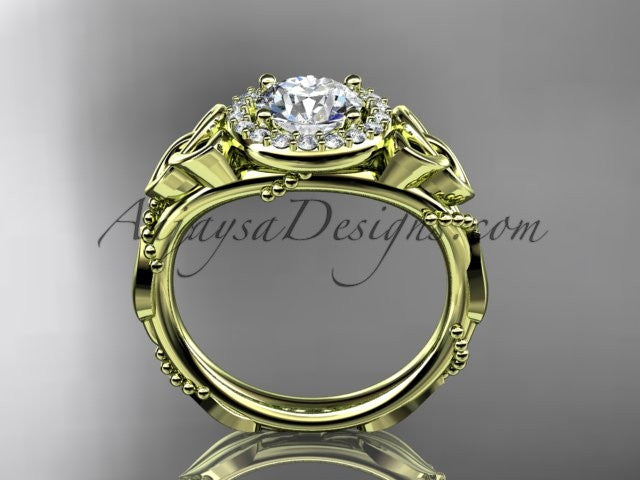 "14kt yellow gold diamond celtic trinity knot wedding ring, engagement ring with a ""Forever One"" Moissanite center stone CT7328 - AnjaysDesigns"
