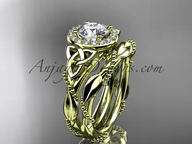 14kt yellow gold diamond celtic trinity knot wedding ring, engagement set CT7328S - AnjaysDesigns